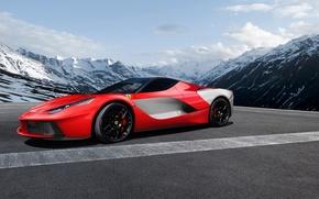 Picture mountains, Ferrari, red, profile, LaFerrari, Aksyonov Nikita Andreevich
