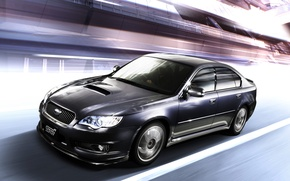 Picture movement, speed, Subaru, optics, drives, STI, Legacy, dynamics, grille, turbo, dark blue, sports sedan