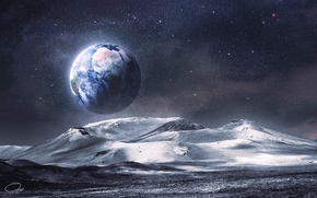 Picture space, stars, surface, mountains, earth, the moon, view, art, relief, QAuZ