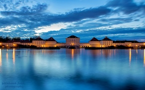 Picture the sky, clouds, the city, lights, river, castle, blue, the evening, Germany, Munich, Bayern, lighting, …