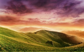 Wallpaper color, clouds, hills