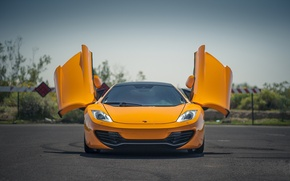 Picture orange, McLaren, the front, orange, McLaren, doors, Mp4-12C