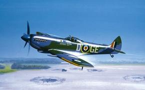 Picture war, art, airplane, painting, Supermarine Spitfire, ww2
