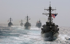 Wallpaper Sea, Wave, The wind, Ships, Military, USA