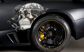 Picture black, skull, Lamborghini, wheel, disk, Black, Murcielago, 2009, Lamborghini, murciélago, Edo Competition, LP710-2, Christian Audigier