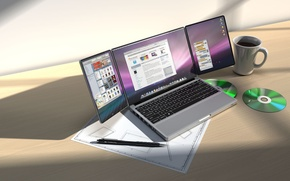 Picture design, table, Apple, concept, Cup, disk, triBook