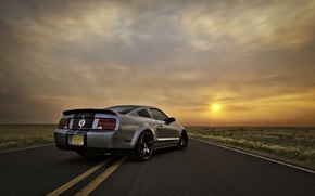 Picture the sky, the sun, sunset, Mustang, Ford, Shelby, GT500, Mustang, silver, muscle car, Ford, Shelby, ...
