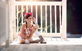 Picture girl, fashion, porch, boots, floral, styled, Summer Light, bandana