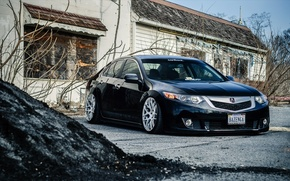 Picture tuning, Honda, black, stance, Acura, Acura TL
