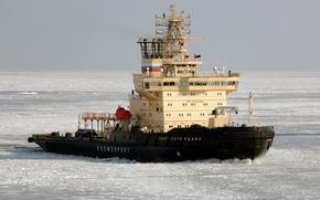 Picture ice, sea, Saint Petersburg, Icebreaker, gulf, Finland, port, The Gulf of Finland, ice-breaker