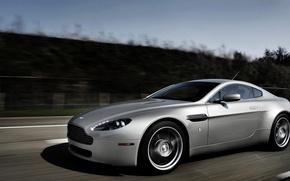 Picture grey, Aston Martin, Vantage, silver, Aston Martin, Vantazh, driving