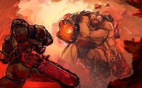 Picture fan art, soldier, chainsaw, shotgun, DOOM, demon