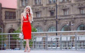 Picture summer, look, girl, face, style, skirt, blonde, heels, bag, legs, beauty