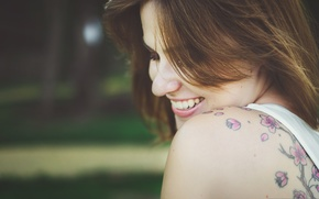 Wallpaper flowers, tattoo, girl, tattoo, pink, smile