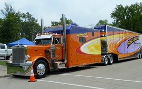 Picture cars, tractor, reliable, peterbilt, sleeping bag