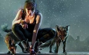 Picture girl, fantasy, art, Fox, hunter