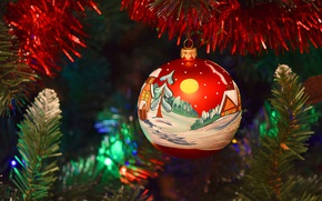 Picture decoration, red, holiday, toy, new year, Christmas, ball, tree, bright, tinsel, Christmas decorations