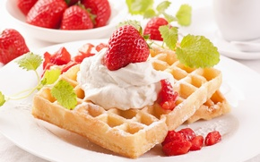 Picture strawberry, mint, cream, dessert, waffles