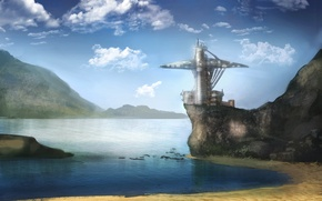 Picture sea, shore, tower, fantasy, art, fantasy, tower, sea, art, seashore, Jonathan Dufresne, Jonathan Dufresne, Speed …