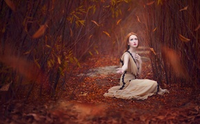 Picture autumn, leaves, the red-haired girl