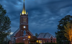 Picture the sky, trees, clouds, the evening, lights, Church, USA, Wisconsin, Polk