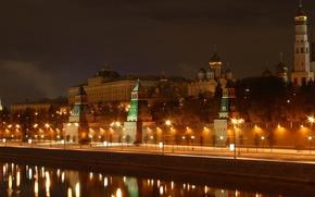 Wallpaper lights, the Kremlin, river, Moscow