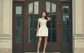 Picture girl, dress, brunette, Talia Hindi