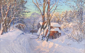 Picture winter, snow, landscape, dawn, house, Anshelm Leonard Schultz Of Mountain