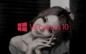 Picture girl, japan, bow, manicure, windows10