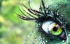 Wallpaper rhinestones, green, girl, eyes