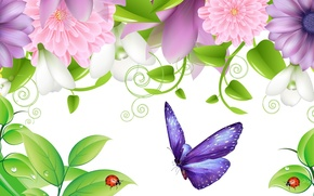 Picture leaves, flowers, collage, butterfly, ladybug, insect