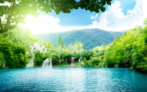 Picture the sky, water, mountains, waterfall, jungle