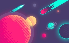 Picture space, circles, graphics, planet, minimalism, comet