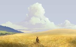 Picture field, forest, the sky, clouds, nature, anime, art, guy, hangmoon