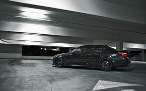 Picture black, bmw, BMW, profile, Parking, black, e60, black rims