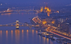 Picture night, lights, river, Parliament, Hungary, Budapest, The Danube, Chain bridge