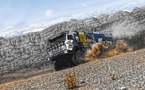 Picture sand, mountains, desert, dust, truck, rally, KAMAZ, kamaz, Paris-Dakar, KAMAZ-master