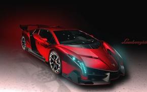 Picture Red, Lamborghini, Machine, The hood, Lights, Car, Supercar, Lamborghini, The front, Veneno