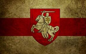 Wallpaper chase, flag, coat of arms, Belarus