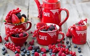 Picture berries, raspberry, blueberries, strawberry, dishes, red, currants, BlackBerry, Julia Khusainova