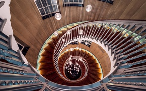 Picture lights, wood, spiral, staircase, architecture, stairs, handrail
