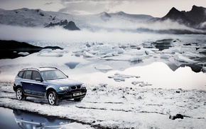 Wallpaper cold, winter, the sky, water, snow, mountains, machine, fog, bmw, BMW, ice, frost, ice