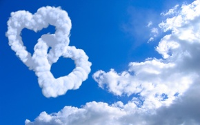 Wallpaper the sky, clouds, creative, mood, mood, landscapes, heart, heart, cloud, hearts, heart