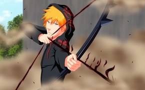 Wallpaper wallpaper, game, bleach, anime, Kurosaki Ichigo, dust, boy, ichigo, bow, orange hair, arrow, hood, shinigami, ...
