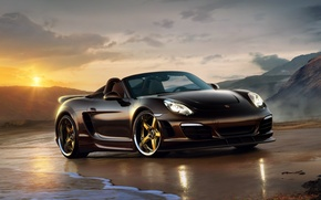 Wallpaper sea, stones, convertible, porsche, shore, boxster, sunset