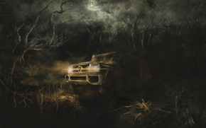 Wallpaper thicket, trip, art, the moon, machine, night, mercedes, darkness, horror, forest, spider