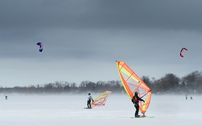 Wallpaper winter, snow, the wind, snowboarding, Ontario, kite, Keswick, Snowkiting