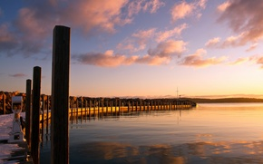 Picture landscape, sunset, lake, pier
