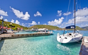 Picture home, yachts, piers, Caribbean, Caribbean, Bitter End Yacht Club Hotel, Yacht club, Virgin islands