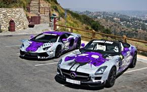 Picture figure, Roadster, Lamborghini, Parking, Mercedes, airbrushing, Mercedes, Lamborghini, SLS, tuning, supercars, Aventador, LP 700-4